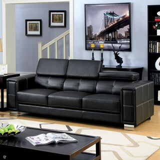 Furniture of America Gregour Black Bonded Leather Gas Lift Headrest Sofa