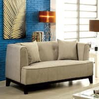 Furniture of America Esmone Modern Tuxedo Linen Loveseat