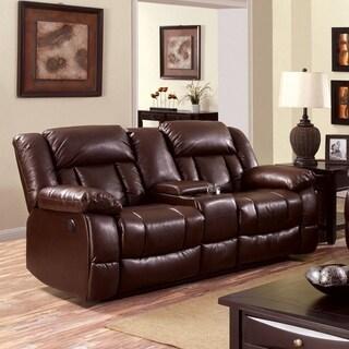 Furniture of America Brentan Dark Brown Bonded Leather Reclining Loveseat