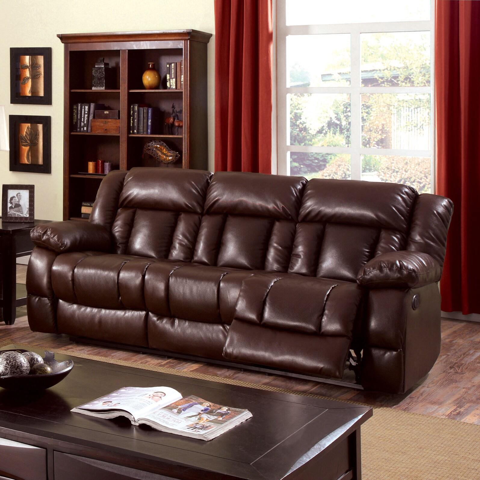 Furniture of America Brentan Dark Brown Bonded Leather Re...