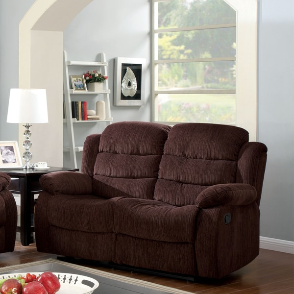 furniture of america aurese chenille reclining loveseat free