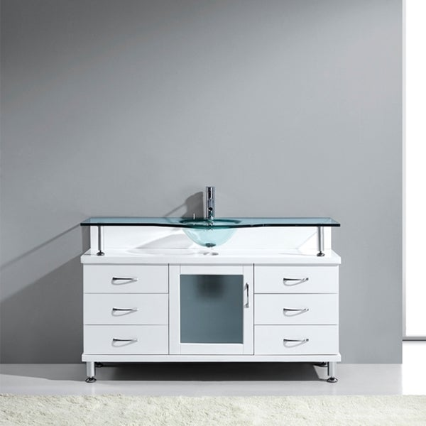 shop virtu usa vincente 55 inch single tempered glass sink white bathroom vanity free shipping. Black Bedroom Furniture Sets. Home Design Ideas