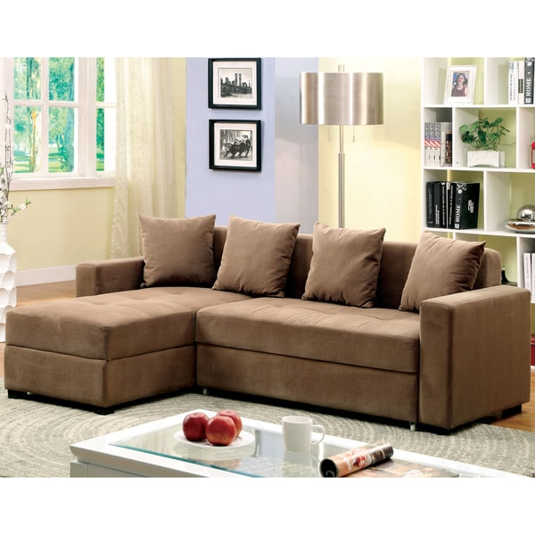 Furniture of America Norma Modern Convertible Sectional with Storage