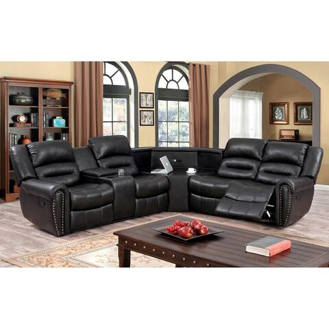 Furniture of America Torr Transitional Brown Faux Leather Sectional