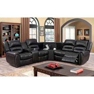 Furniture of America Torr Transitional Brown Leatherette Sectional