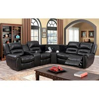 Furniture of America Torrell Dark Brown Sectional with USB and Power Outlet