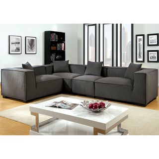 Furniture of America Slaten Grey Flannelette 4-Piece Sectional