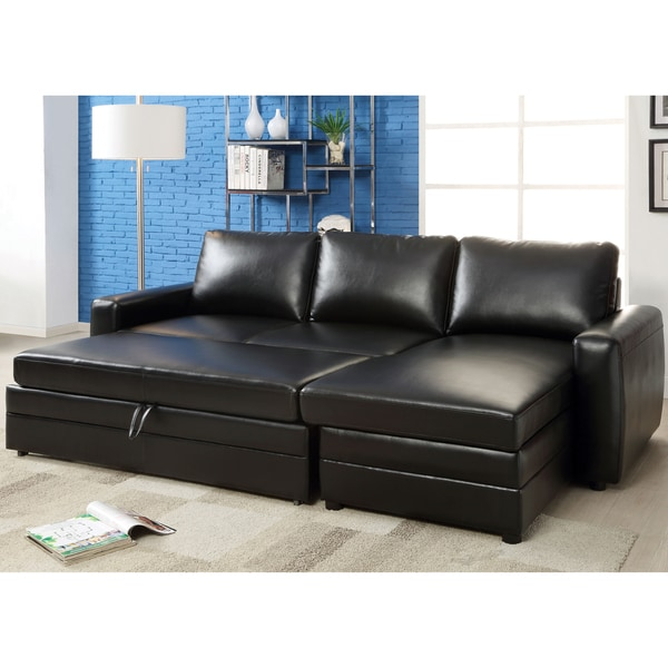 Furniture of america renaulte black bonded leather for Bonded leather sectional sofa with chaise
