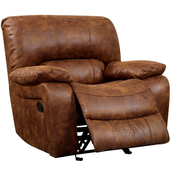 Shop Furniture of America Fann Rustic Brown Faux Leather