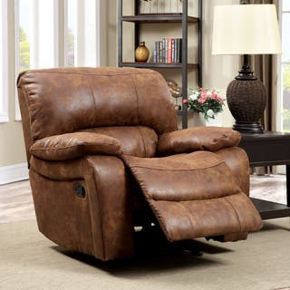 swivel rocker chairs for living room. Furniture of America Cameltone Brown Bonded Leather Recliner Swivel Chairs  Rocking Recliners For Less Overstock com