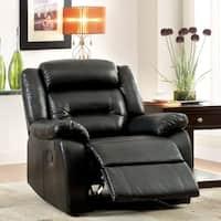 Furniture of America Garzon Black Bonded Leather Recliner