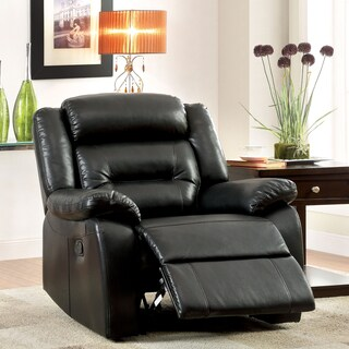 Furniture of America Garzon Black Bonded Leather Recliner
