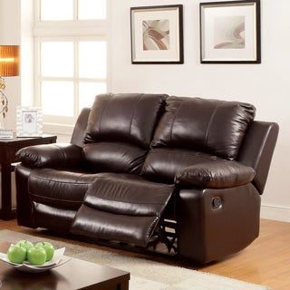Furniture of America Kender Brown Leather Reclining Loveseat