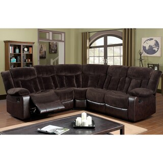 Furniture of America Karl 2-Tone Brown Champion Fabric Theatre Reclining Sectional
