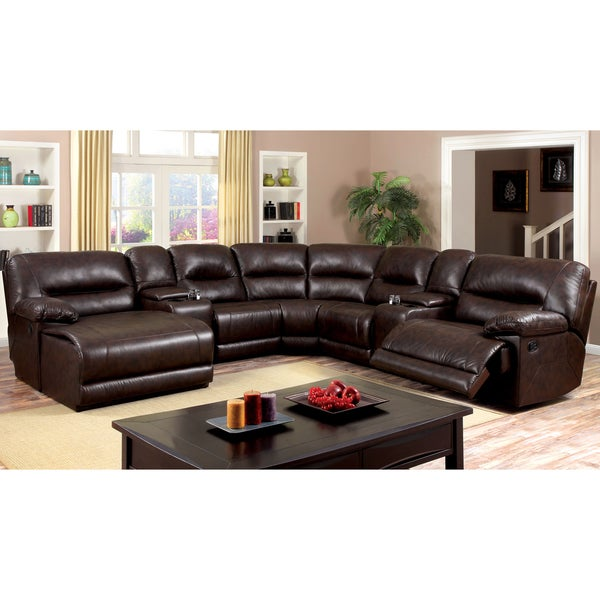 Shop Furniture Of America Tennor Brown Bonded Leather