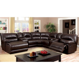 Furniture of America Tennor Brown Bonded Leather Theatre Sectional