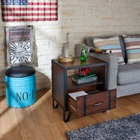 Carbon Loft Flinders Vintage Walnut Industrial End Table
