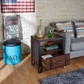 Furniture of America Sivenza Vintage Walnut Industrial End Table