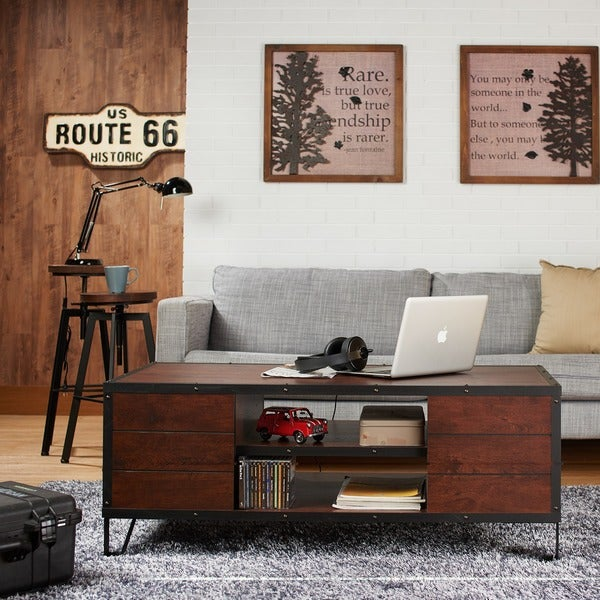 Furniture of america sivenza vintage walnut industrial for Homegoods industrial furniture