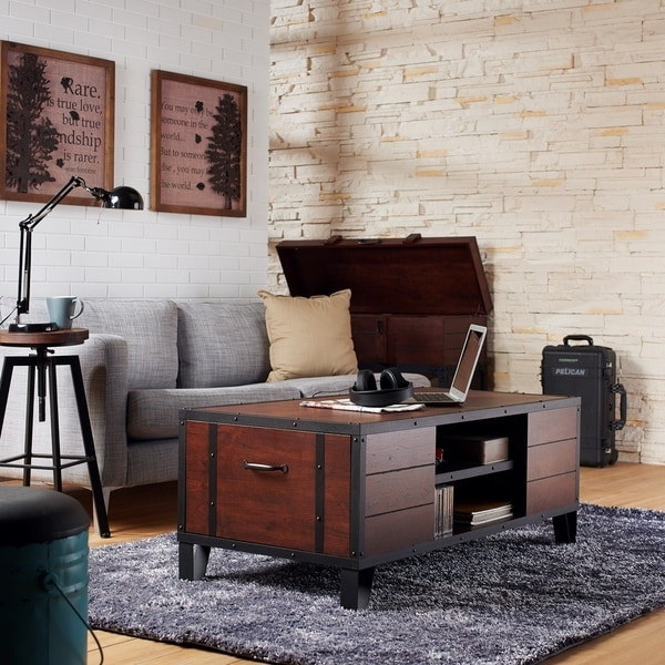 Furniture of America Sivenza Industrial Walnut 2-shelf Coffee Table