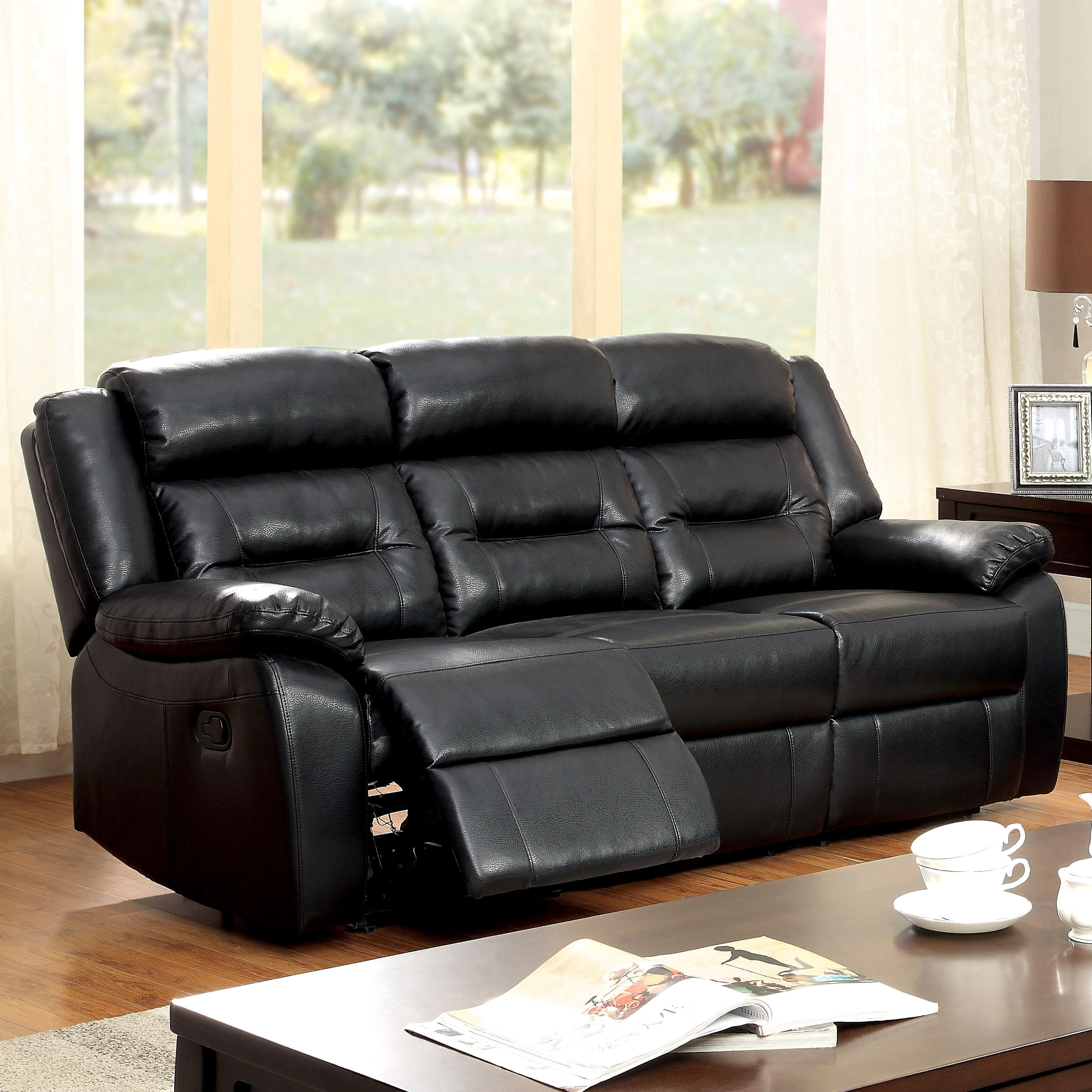 Furniture of America Garzon Black Bonded Leather Reclinin...