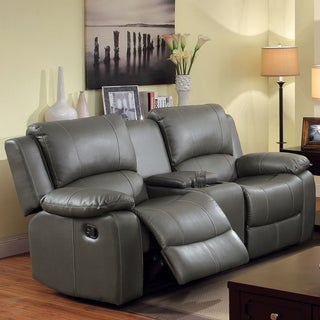 Furniture of America Grey Bonded Leather Reclining Loveseat with Console