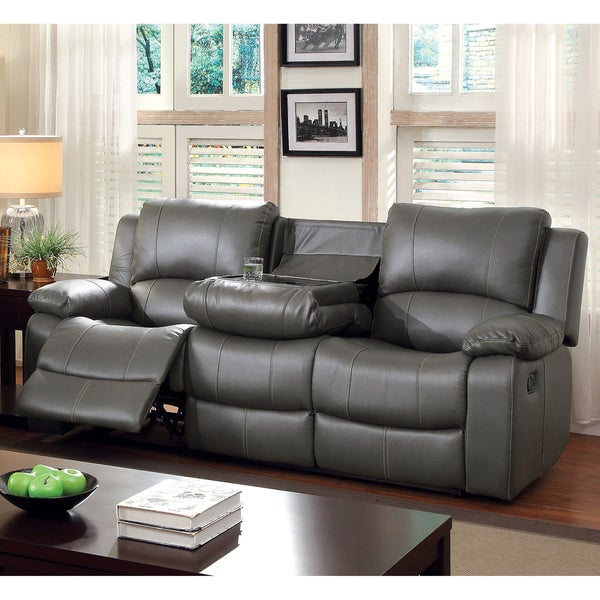shop furniture of america rembren grey bonded leather reclining sofa