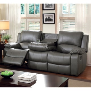 Exceptionnel Furniture Of America Rembren Grey Bonded Leather Reclining Sofa