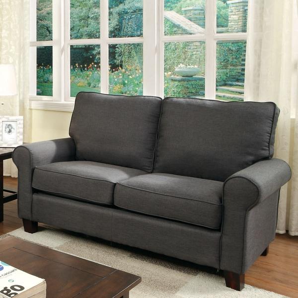 Shop Furniture Of America Kerra Modern Flax Loveseat