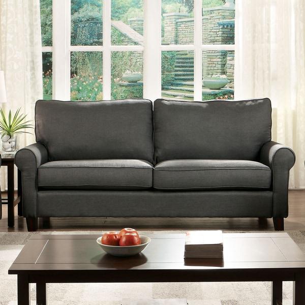 Furniture of America Sax Modern Flax Fabric Cushion Back Sofa