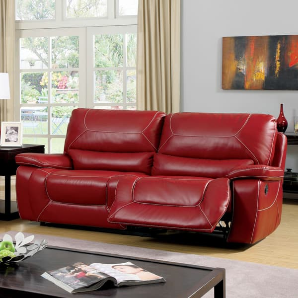 Furniture of America Frasien Modern Bonded Leather Reclining Sofa