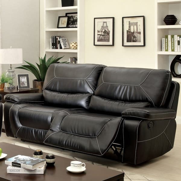 Furniture of America Post Modern Bonded Leather Padded Reclining Sofa