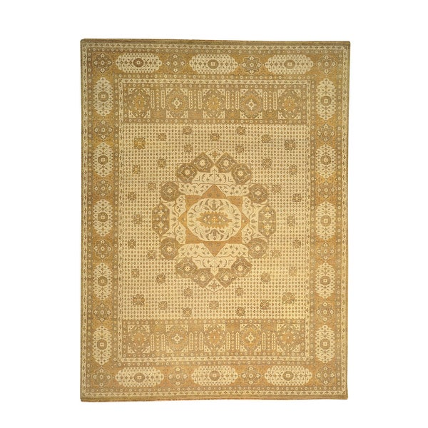 Hand Knotted Persian Style Wool Pile Area Rug: Zero Pile Oriental Hand-knotted Egyptian Mamluk Wool Area
