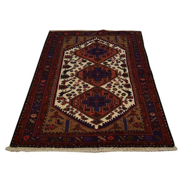 Hand Knotted Persian Hamadan Wool Area Rug Ebth: Shop Oriental Wool Persian Hamadan Hand-knotted Area Rug