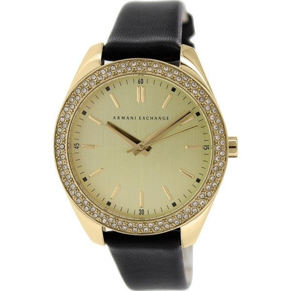 Shop Armani Exchange Women s Black Leather Quartz Watch - Free Shipping  Today - Overstock.com - 9759841 6377fffb8d