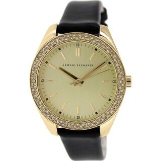 Armani Exchange Women's AX5507 Black Leather Quartz Watch