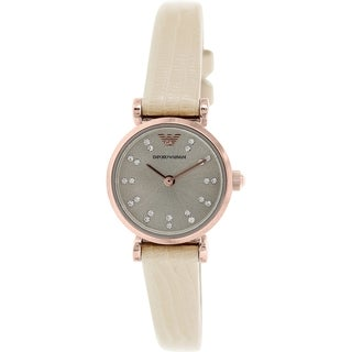 Emporio Armani Women's Retro AR1762 Beige Leather Quartz Watch