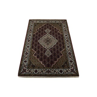Wool and Silk 250 KPSI Hand-knotted Tabriz Mahi Area Rug (3'1 x 5'1)