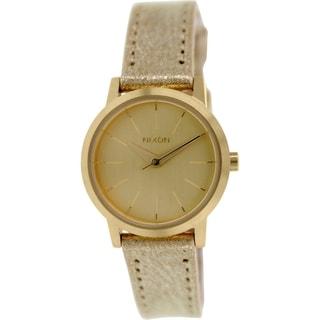 Nixon Women's Kenzi A3981877 Goldtone Leather Quartz Watch