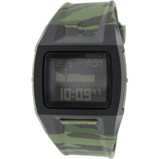 Nixon Men's 'Lodown II A2891629' Green Rubber Quartz Tide Watch