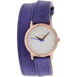 Nixon Women's Kenzi A4031675 Purple Leather Quartz Watch