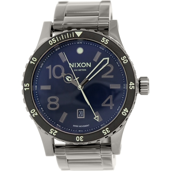 c1d58b131 Shop Nixon Men's Diplomat Gunmetal Stainless-Steel Quartz Watch - Free  Shipping Today - Overstock - 9760084
