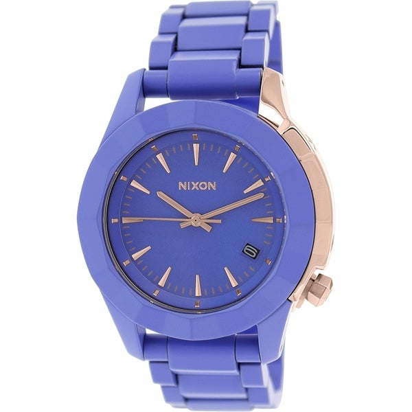 Nixon Women's Monarch A2881675 Purple Plastic Quartz Watch