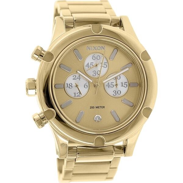 4e672a817 Shop Nixon Women's Camden Gold Brass-plated Stainless Steel Quartz Watch - Free  Shipping Today - Overstock - 9760092