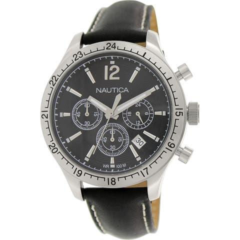 Nautica Men's N16659G 'BFD' Chronograph Black Leather Watch