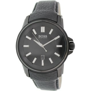 Hugo Boss Men's 1513038 Black Leather Analog Quartz Watch
