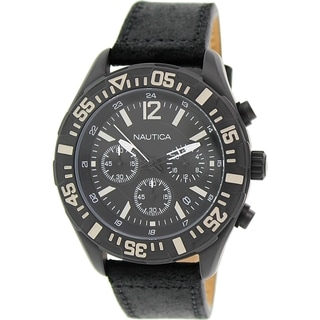 Nautica Men's Nst 402 N18721G Black Leather Quartz Watch