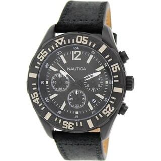 Nautica Men's N18721G 'NST 402' Chronograph Black Leather Watch - N/A