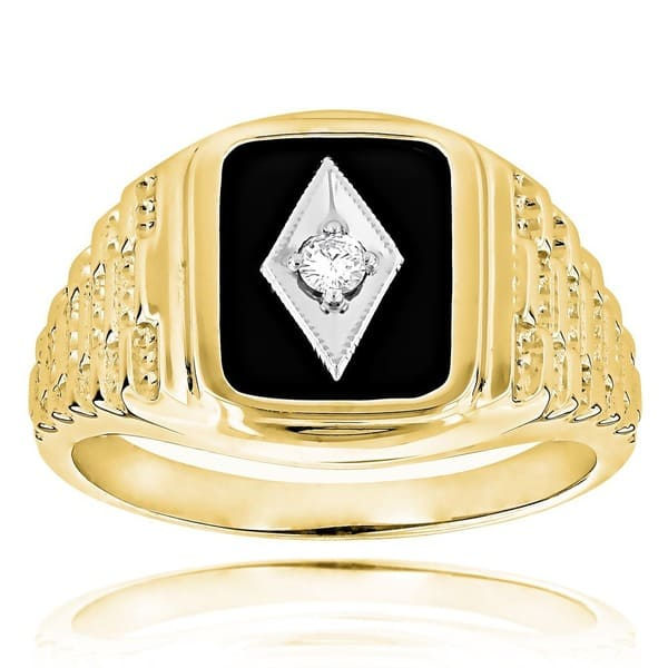 14k Gold Men S 1 10ct Tdw Diamond Black Onyx Ring H I Si1 Si2 On Sale Overstock 9760428