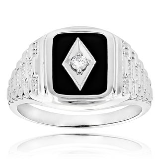 14k Gold Men's 1/10ct TDW Diamond Black Onyx Ring (H-I, SI1-SI2)